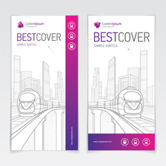 Fototapete - Covers booklet business architecture and transport, modern design, purple, magenta, pink and grey, icons and logo, vector sample design