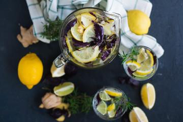 Lemonade with lemons, lime and red basil