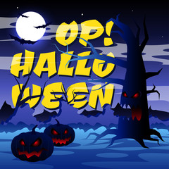 "Scary tree with text: ""Op! Halloween"" on the moon background, vector illustration."