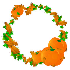 Halloween background, round frame with pumpkin and autumn leaves.
