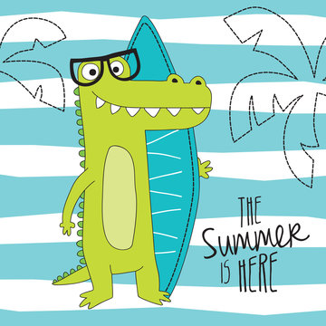 cute crocodile on the beach vector illustration