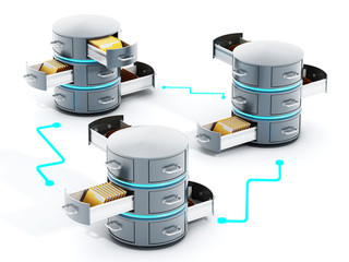 Connected data servers with open file racks. 3D illustration