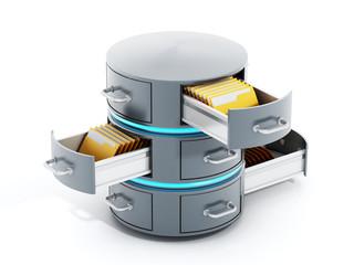 Data server with open file racks. 3D illustration