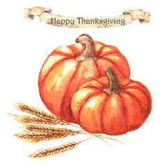 Thanksgiving day - greeting card template. Watercolor illustration with hand-drawn pumpkins and wheat