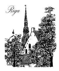 drawing cityscape view of the old city of Riga and the Church of St. Peter, the sketch hand-drawn vector illustration