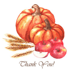 Thanksgiving day - greeting card template. Watercolor illustration with hand-drawn pumpkins, apples and wheat