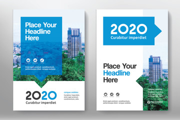 Blue Color Scheme with City Background Business Book Cover Design Template in A4. Easy to adapt to Brochure, Annual Report, Magazine, Poster, Corporate Presentation, Portfolio, Flyer, Banner, Website Wall mural