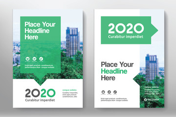 Green Color Scheme with City Background Business Book Cover Design Template in A4. Can be adapt to Brochure, Annual Report, Magazine,Poster, Corporate Presentation, Portfolio, Flyer, Banner, Website Fototapete