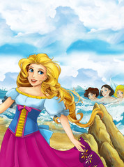 Cartoon happy and funny scene with princess standing on the shore near big shell and some magical things happen - beautiful manga girl - illustration for children