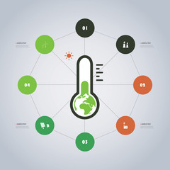 Minimal Modern Style Eco Infographics Timeline Design with Circles - Global Warming