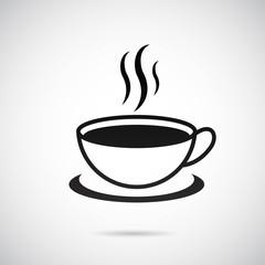 Coffee, Tee icon on gray background. Vector art.