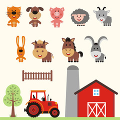 Vector set of farm animals in cartoon style. Collection funny farm animals.