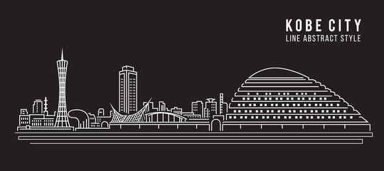 Cityscape Building Line art Vector Illustration design - Kobe city