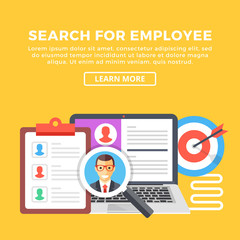 Search for employee, human resources, team management concepts. Modern graphic elements set for web banners, web design, infographics. Creative flat design vector illustration