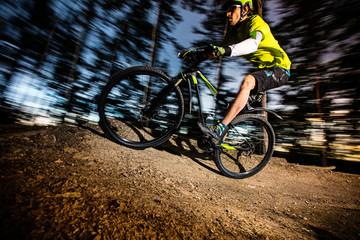 Cyclist riding a mountain bike.