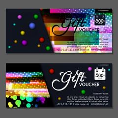Gift voucher. Vector, illustration. Template discount card.