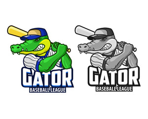 Gator Baseball Cartoon Mascot