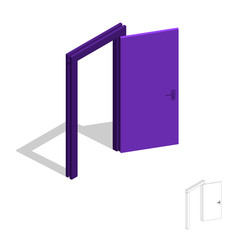 Open door. Isolated on white background. 3d Vector illustration.