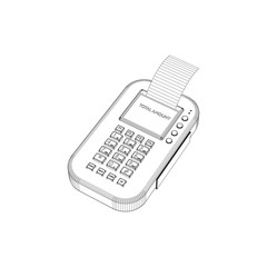 3d Payment machine.Vector outline illustration.