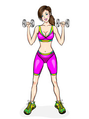 Young girl do exercises with dumbbells, fitness classes