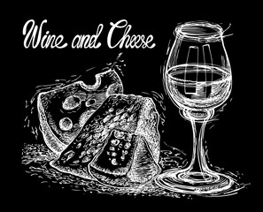 Still life with cheese and wine. Sketchy style. Hand drawn graphic illustration in vector. Chalk board drawing.