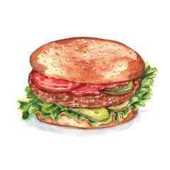 Hand-drawn watercolor illustration of tasty fresh hamburger. Drawing isolated on the white background
