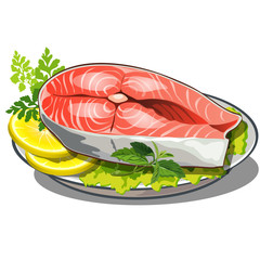 delicious steak of red fish with salad and lemon