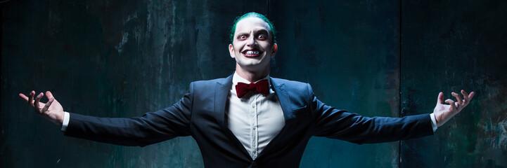 Bloody Halloween theme: crazy joker face