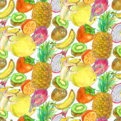 Hand drawn tropical exotic fruit seamless pattern
