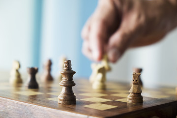 Business concept strategy, risk,leadership, team and success .Select focus chess