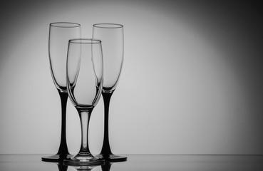 Silhouette champagne glasses black and white