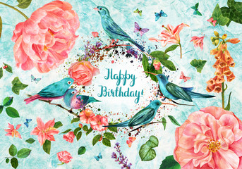Happy Birthday watercolor card with handwritten text