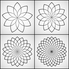 Vector Illustration - Set of 4 Round Ornament Patterns. Flowers for coloring. Coloring Page.