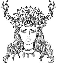 Female shaman portriat.