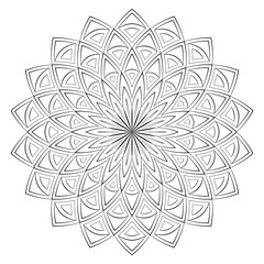 Vector Illustration - Mandala for coloring. Round Ornament Pattern. Square Coloring Page.