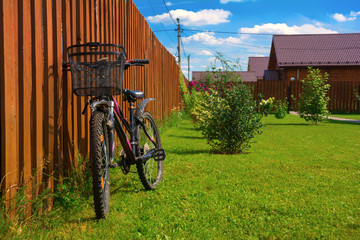 Bike in yard of a country house