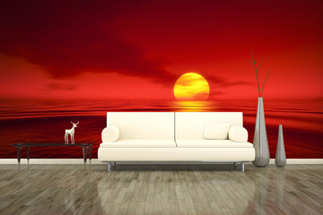 photo wall mural sofa floor red sunset