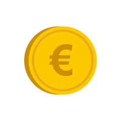 Gold coin with euro sign icon in flat style on a white background vector illustration