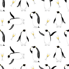 New Year 2017, Christmas vector seamless pattern with penguin
