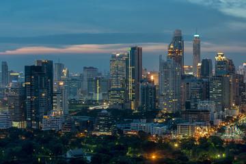 Bangkok sky line with huge park before sunset