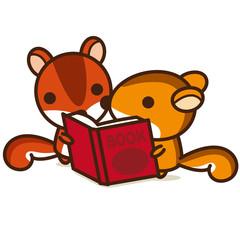 こりすぐみ 本を読む