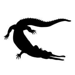 Crocodile isolated realistic vector illustration black silhouette