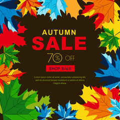 Autumn sale banners with multicolor maple autumn leaves. Vector fall poster background. Layout for discount labels, flyers and shopping.