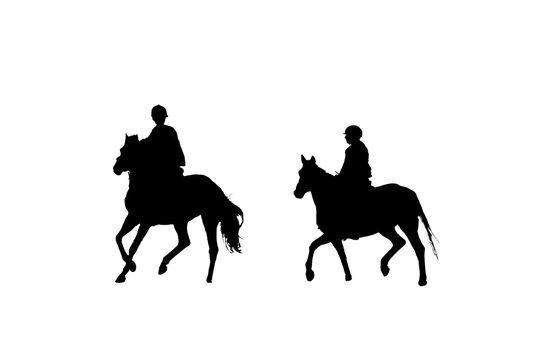 Zwei Reiter/Silhouette von Pferden und Reitern