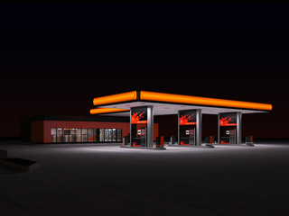 night view of gas station