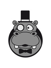 face head lochmann mr sir cylindrical glasses monokel hat fly rich nilpferd small thick sweet cute comic cartoon hippo