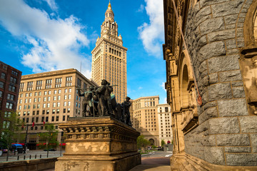 Soldiers and Sailors Monument on Cleveland's Public Square, with Terminal Tower in background
