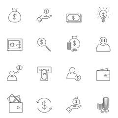 Outline money icon set isolated on white background
