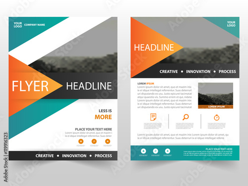 orange green triangle vector business proposal leaflet brochure