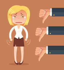 Sad business woman character and many hands with thumbs down. Vector flat cartoon illustration